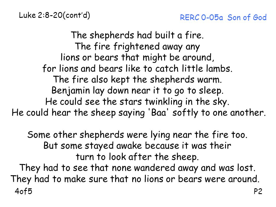 The shepherds had built a fire. The fire frightened away any lions or bears that might be around, for lions and bears like to catch little lambs. The