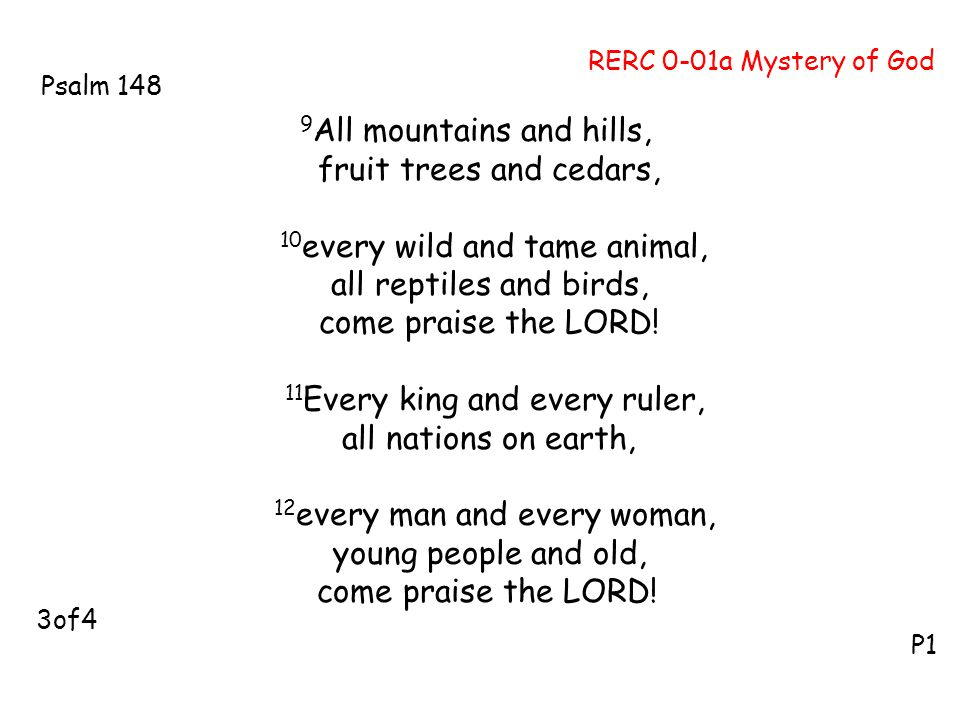 9 All mountains and hills, fruit trees and cedars, 10 every wild and tame animal, all reptiles and birds, come praise the LORD! 11 Every king and ever