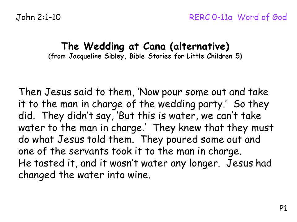 Then Jesus said to them, 'Now pour some out and take it to the man in charge of the wedding party.' So they did.