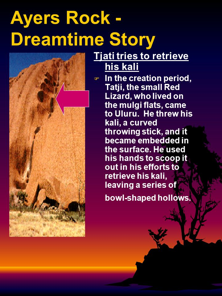 Ayers Rock - Dreamtime Story The cave where Tjati died at Kantju   Unable to recover his kali, he finally died in this cave.