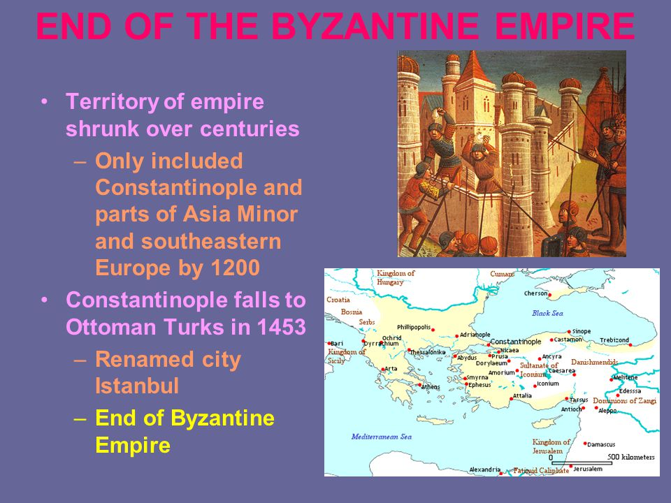 END OF THE BYZANTINE EMPIRE Territory of empire shrunk over centuries –Only included Constantinople and parts of Asia Minor and southeastern Europe by