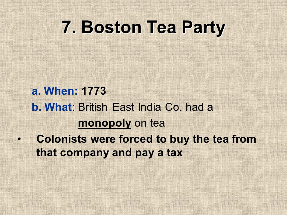 Angry Colonists Angry Colonists *********** d. event: * Colonists threw snowballs at the British troops * British troops fired and killed 5 colonists