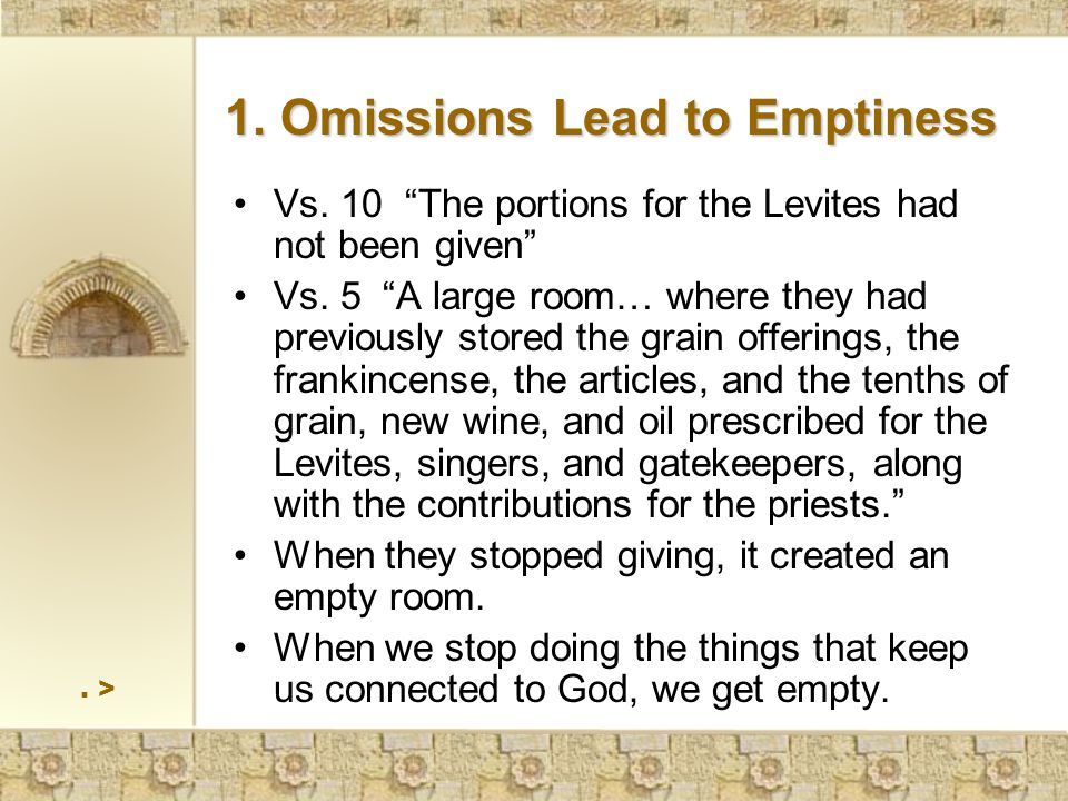 > 1. Omissions Lead to Emptiness Vs. 10 The portions for the Levites had not been given Vs.