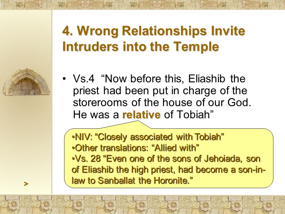 > relativeVs.4 Now before this, Eliashib the priest had been put in charge of the storerooms of the house of our God.