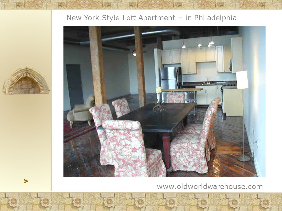 > www.oldworldwarehouse.com New York Style Loft Apartment – in Philadelphia