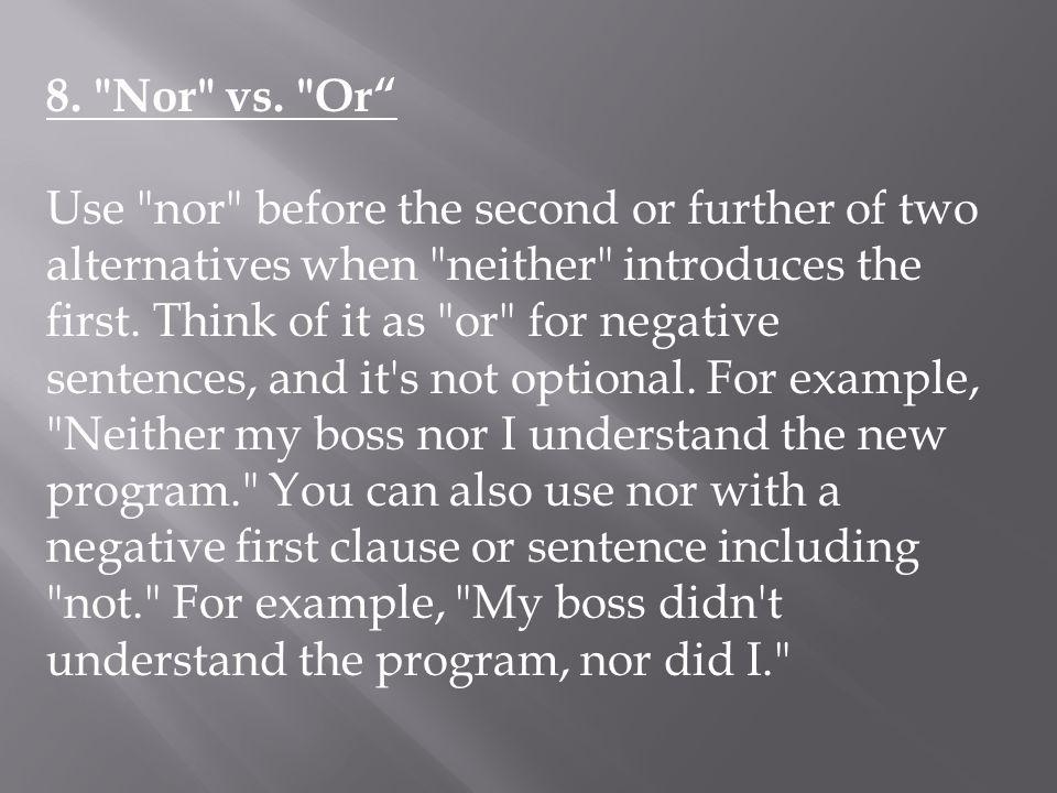 8. Nor vs.