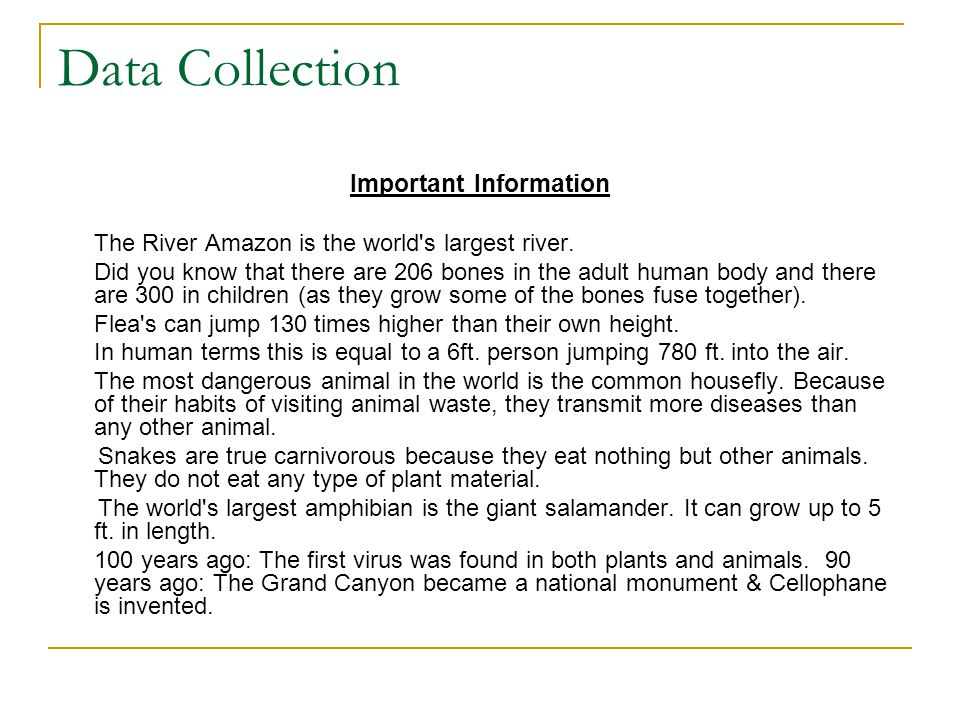 Data Collection Important Information The River Amazon is the world s largest river.