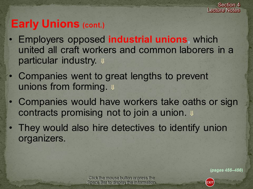 (pages 455–456) Early Unions Click the mouse button or press the Space Bar to display the information.