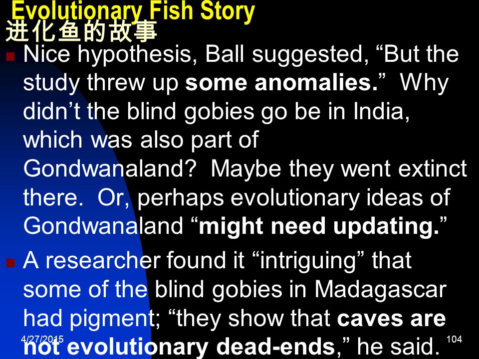 4/27/2015105 Evolutionary Fish Story 进化鱼的故事 The observation of similar blind cave fish separated by 4,000 miles is a worthy puzzle for scientific investigation by both creationists and evolutionists.