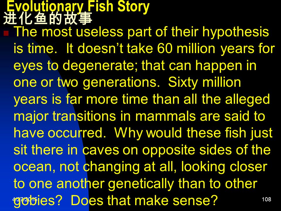 4/27/2015108 Evolutionary Fish Story 进化鱼的故事 The most useless part of their hypothesis is time.