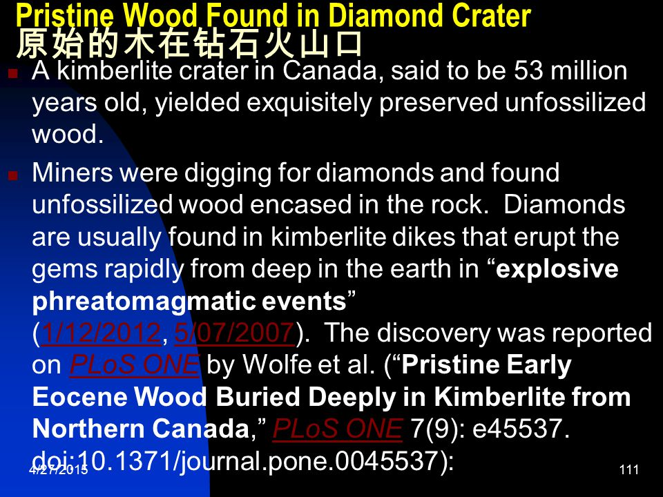 4/27/2015111 Pristine Wood Found in Diamond Crater 原始的木在钻石火山口 A kimberlite crater in Canada, said to be 53 million years old, yielded exquisitely preserved unfossilized wood.