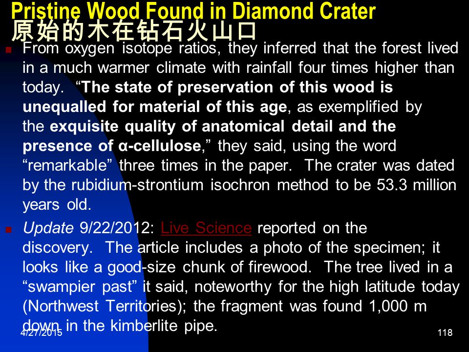 4/27/2015119 Pristine Wood Found in Diamond Crater 原始的木在钻石火山口 Well, this should raise some eyebrows.