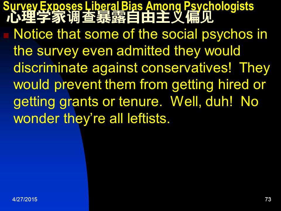 4/27/201573 Survey Exposes Liberal Bias Among Psychologists 心理学家调查暴露自由主义偏见 Notice that some of the social psychos in the survey even admitted they would discriminate against conservatives.