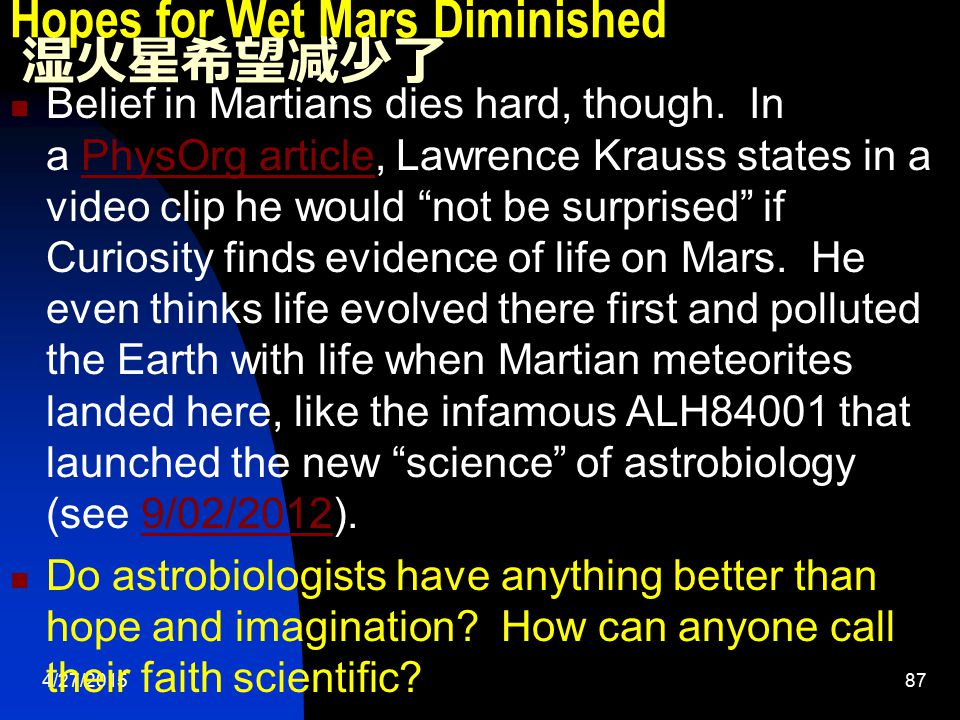 4/27/201587 Hopes for Wet Mars Diminished 湿火星希望减少了 Belief in Martians dies hard, though. In a PhysOrg article, Lawrence Krauss states in a video clip