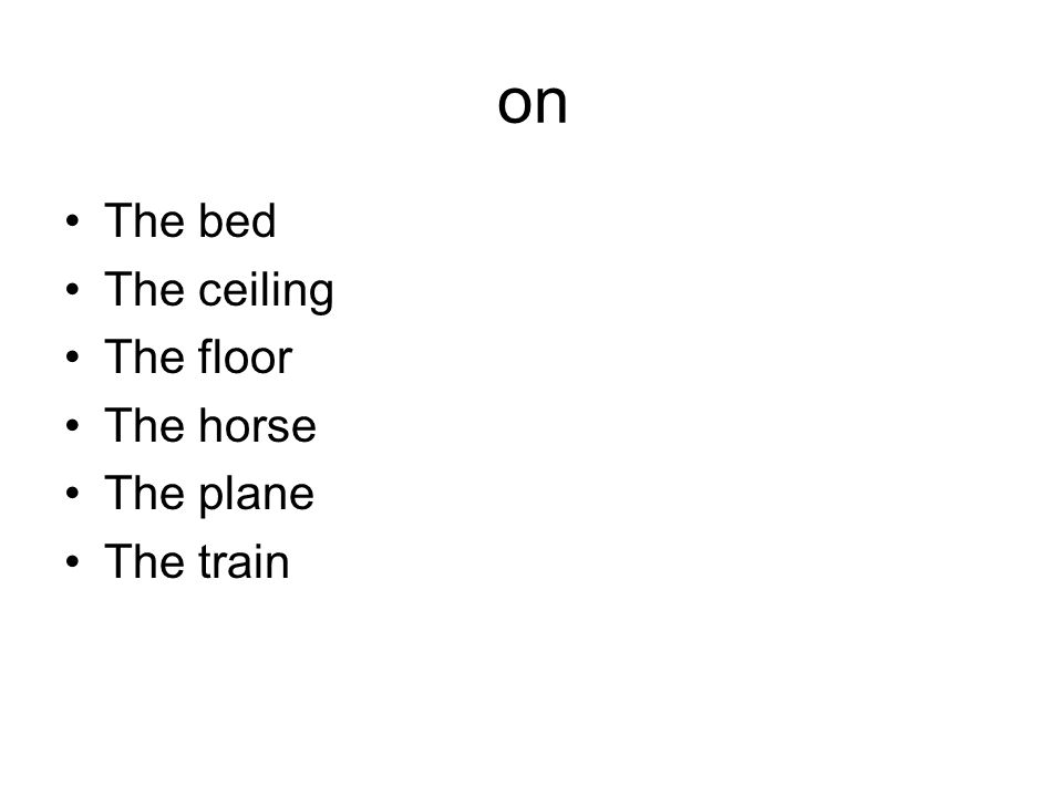 on The bed The ceiling The floor The horse The plane The train