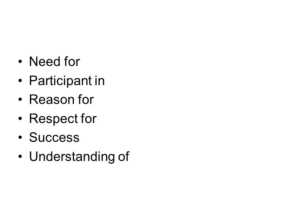 Need for Participant in Reason for Respect for Success Understanding of