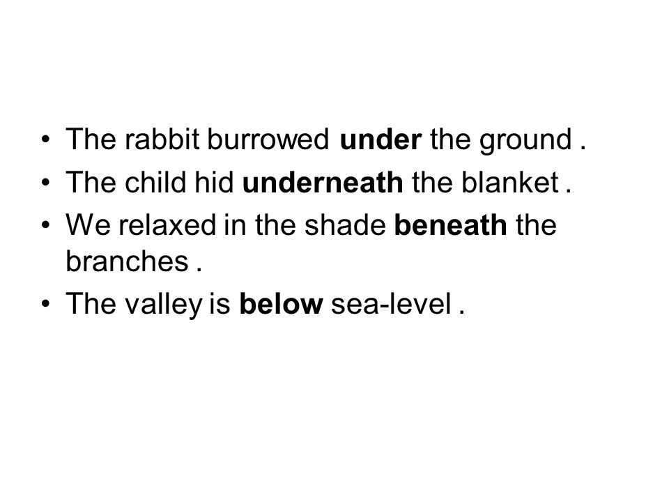The rabbit burrowed under the ground. The child hid underneath the blanket. We relaxed in the shade beneath the branches. The valley is below sea-leve