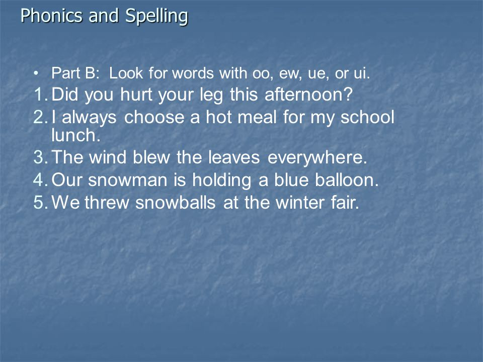 Phonics and Spelling Part B: Look for words with oo, ew, ue, or ui.