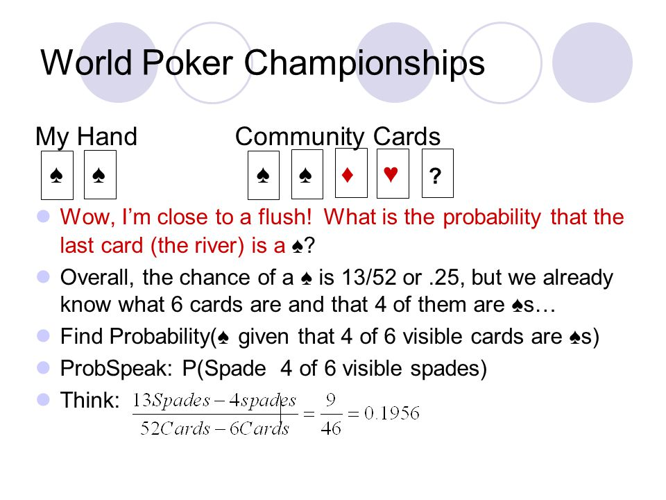 World Poker Championships My Hand Community Cards ♠ ♠ ♠ ♠ ♦ ♥ Wow, I'm close to a flush.