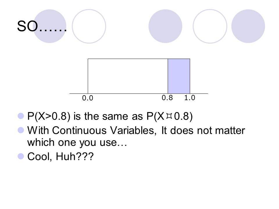 SO…… P(X>0.8) is the same as P(X  0.8) With Continuous Variables, It does not matter which one you use… Cool, Huh .
