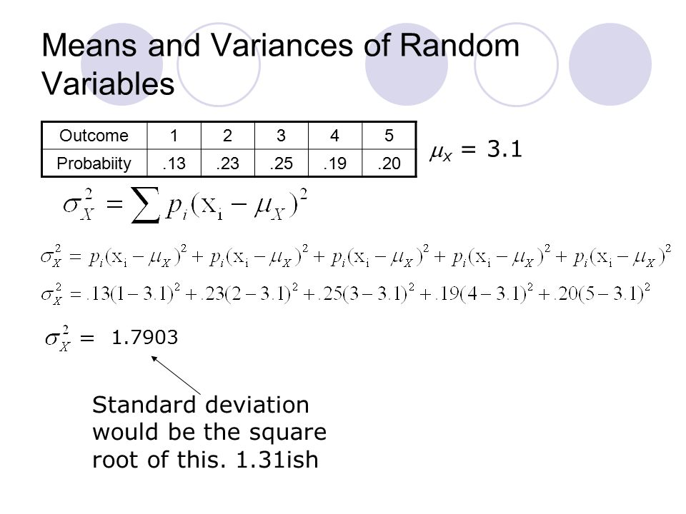 Means and Variances of Random Variables Outcome12345 Probabiity.13.23.25.19.20  x = 3.1 Standard deviation would be the square root of this.
