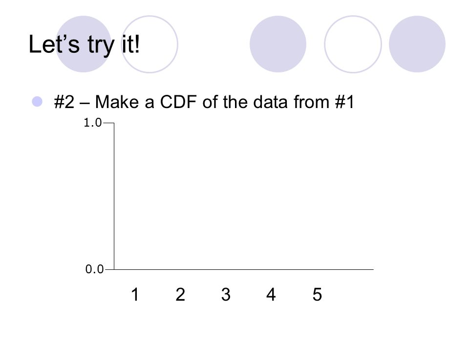 Let's try it! #2 – Make a CDF of the data from #1 1 2 3 4 5 1.0 0.0