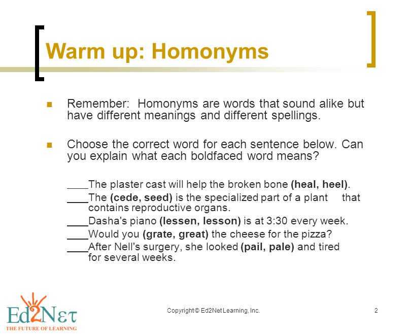 Copyright © Ed2Net Learning, Inc.2 Warm up: Homonyms Remember: Homonyms are words that sound alike but have different meanings and different spellings.