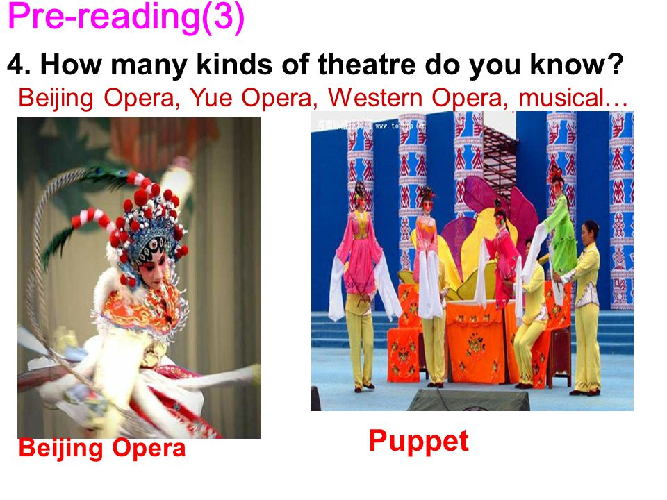 Puppet Pre-reading(3) 4. How many kinds of theatre do you know.
