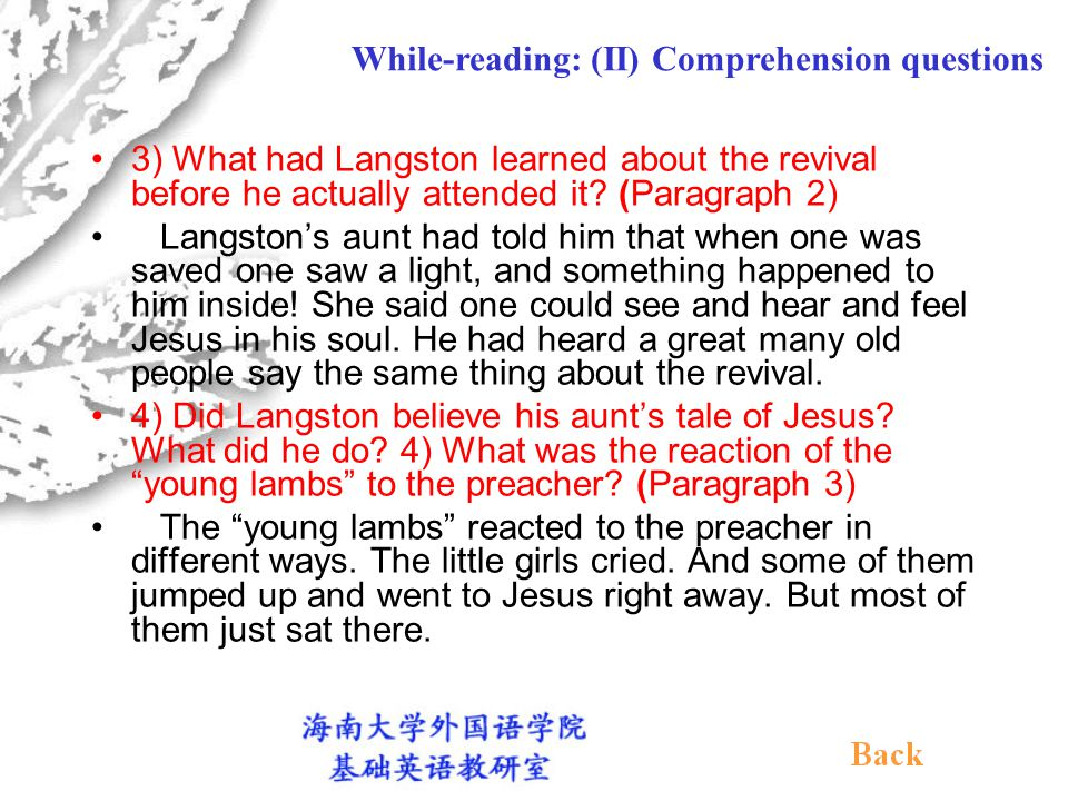 (II) Comprehension questions 1) What was the special event that happened one night.