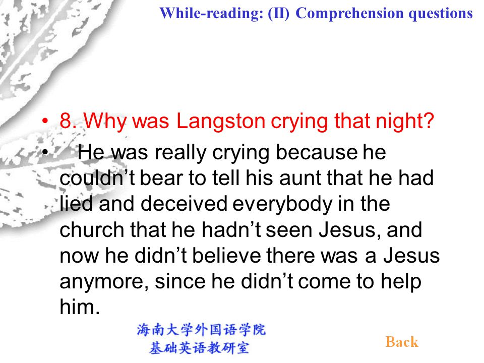 7. What was the response of the people present at the meeting when Langston got up to go to the altar? (Paragraph 13) As soon as Langston got up to go
