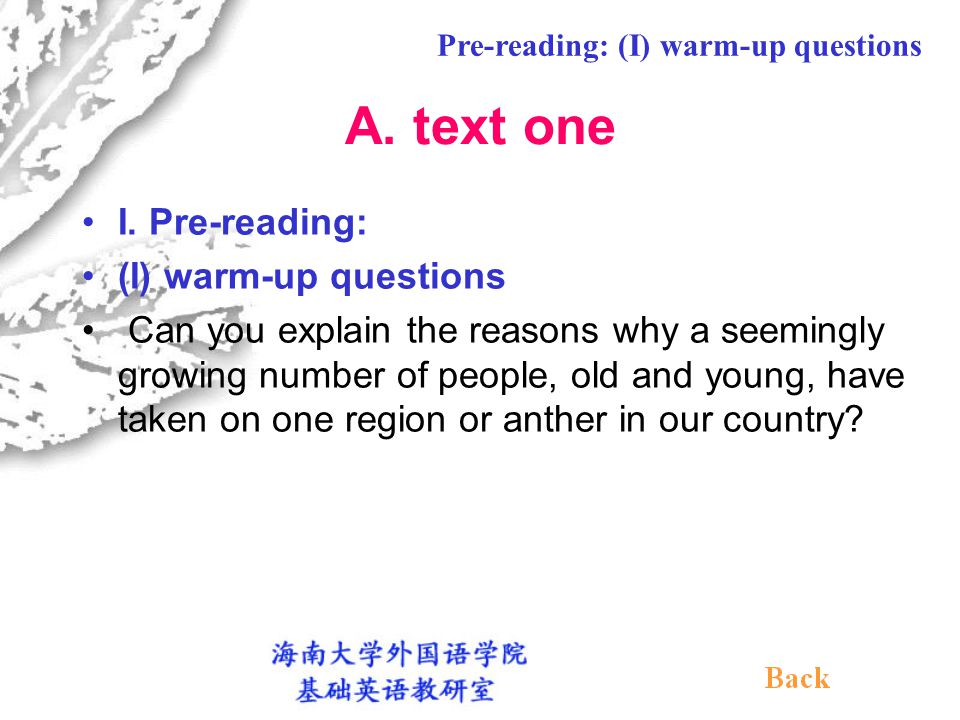 III.Post-Reading (I) Grammatical items: 1. Reported speech 2.