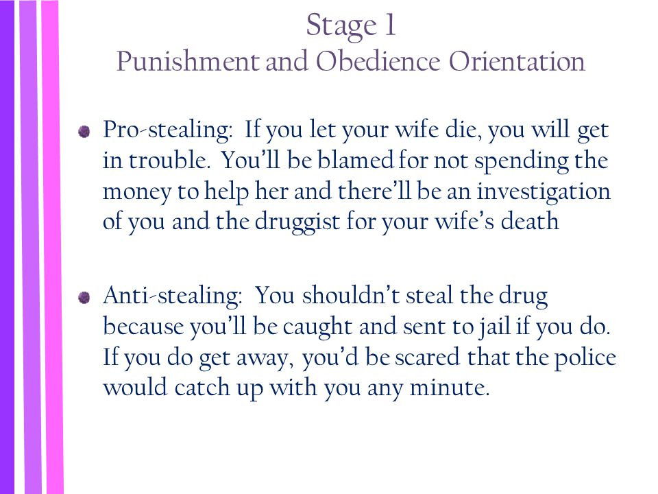 Stage 1 Punishment and Obedience Orientation Pro-stealing: If you let your wife die, you will get in trouble. You'll be blamed for not spending the mo