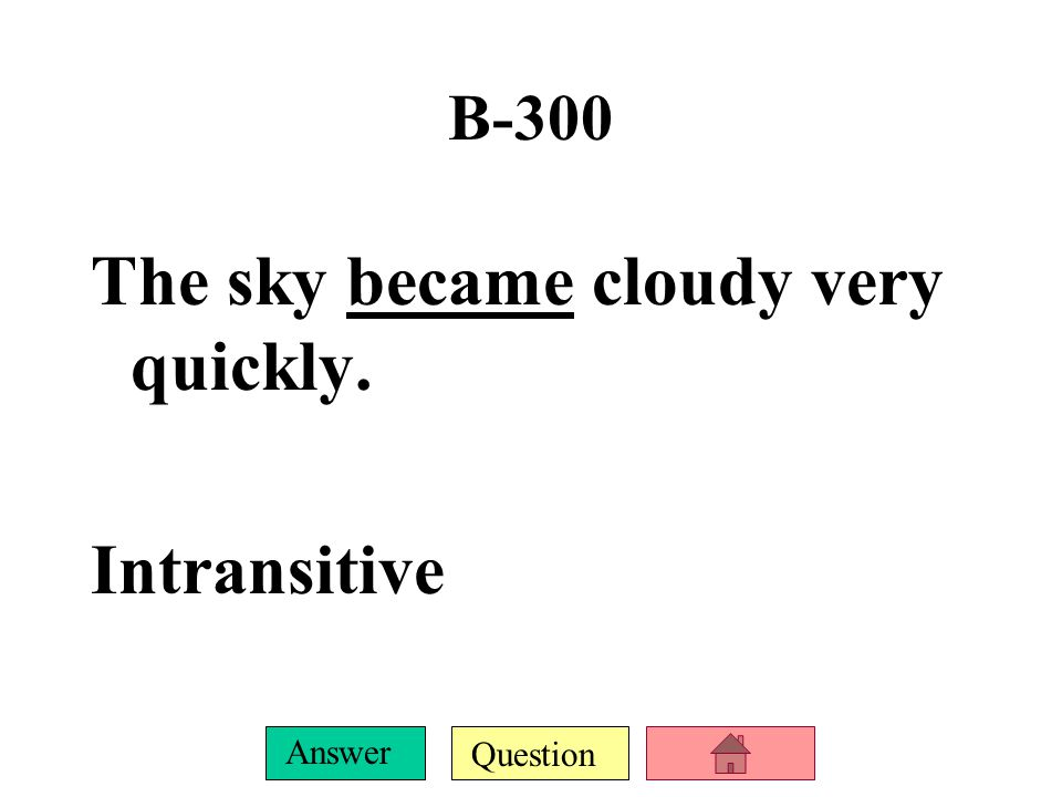 Question Answer B-200 Billy did not do well on the test. Intransitive