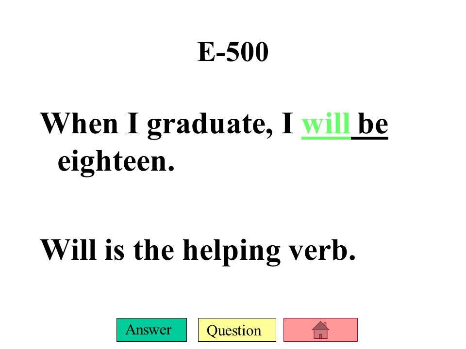 Question Answer E-400 I will vote when I am eighteen. Will is the helping verb.