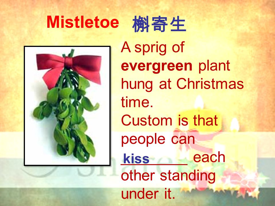 Mistletoe A sprig of evergreen plant hung at Christmas time. Custom is that people can ________ each other standing under it. 槲寄生 kiss