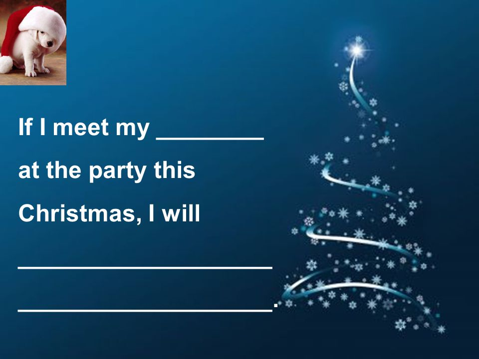If I meet my ________ at the party this Christmas, I will ___________________ ___________________.