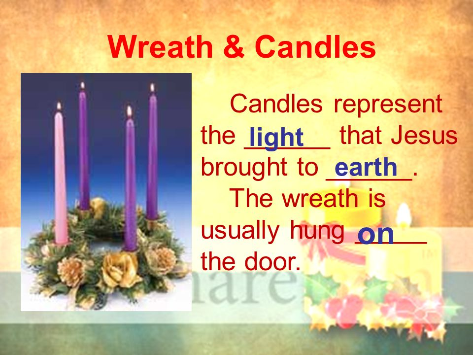 Wreath & Candles Candles represent the ______ that Jesus brought to ______. The wreath is usually hung _____ the door. light earth on