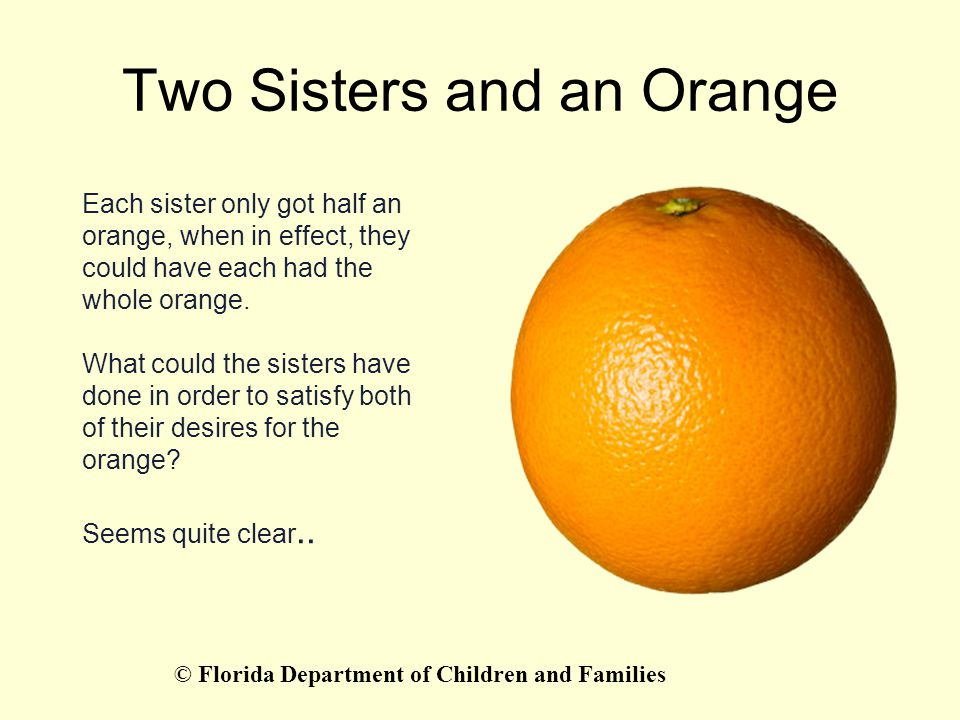 Two Sisters and an Orange Each sister only got half an orange, when in effect, they could have each had the whole orange. What could the sisters have