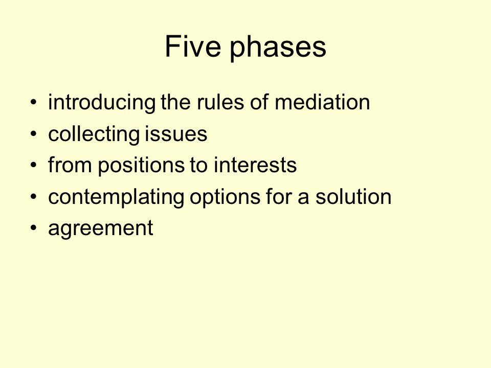 Five phases introducing the rules of mediation collecting issues from positions to interests contemplating options for a solution agreement