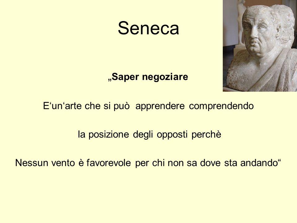 """Seneca """" Saper negoziare E'un'arte che si può apprendere comprendendo la posizione degli opposti perchè Nessun vento è favorevole per chi non sa dove sta andando"""