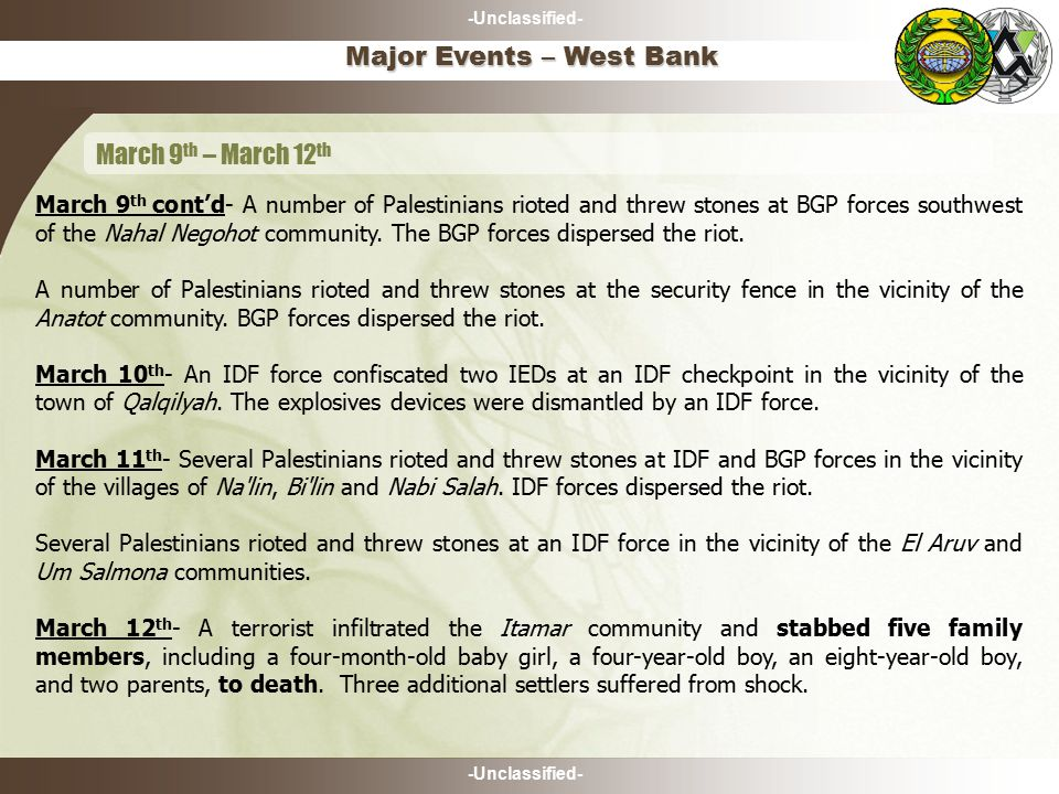 -Unclassified- March 9 th cont'd- A number of Palestinians rioted and threw stones at BGP forces southwest of the Nahal Negohot community.