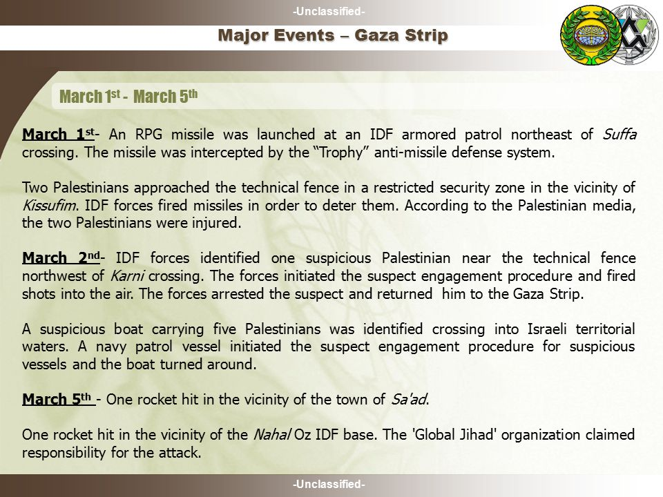 -Unclassified- March 1 st - An RPG missile was launched at an IDF armored patrol northeast of Suffa crossing.