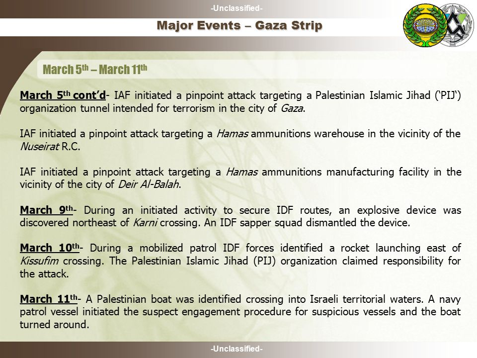 -Unclassified- March 5 th cont'd- IAF initiated a pinpoint attack targeting a Palestinian Islamic Jihad ('PIJ') organization tunnel intended for terrorism in the city of Gaza.