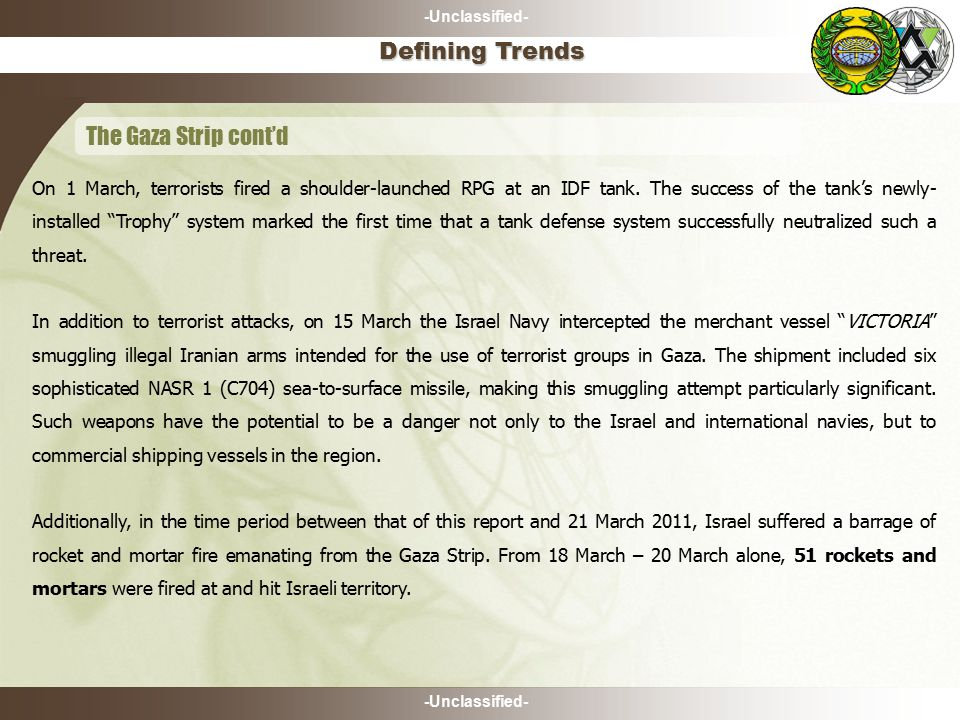 -Unclassified- The Gaza Strip cont'd Defining Trends On 1 March, terrorists fired a shoulder-launched RPG at an IDF tank.