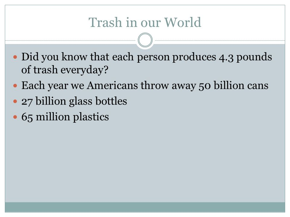 Trash in our World Did you know that each person produces 4.3 pounds of trash everyday.