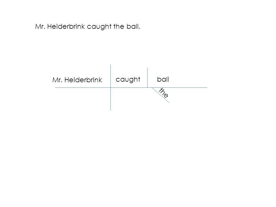 Mr. Heiderbrink caught the ball. Mr. Heiderbrink caughtball the