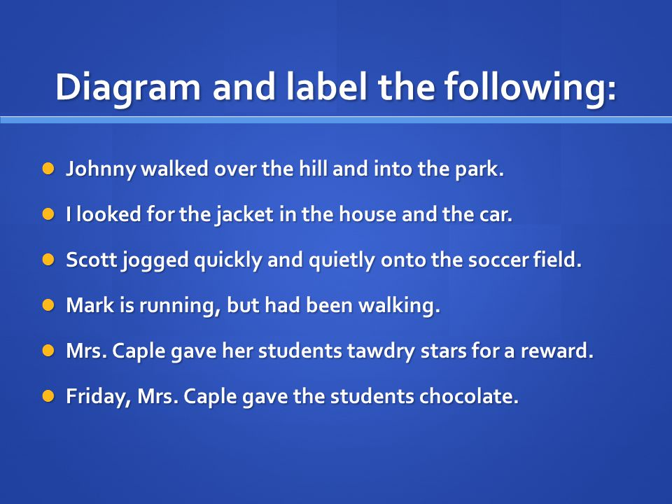 Diagram and label the following: Johnny walked over the hill and into the park.