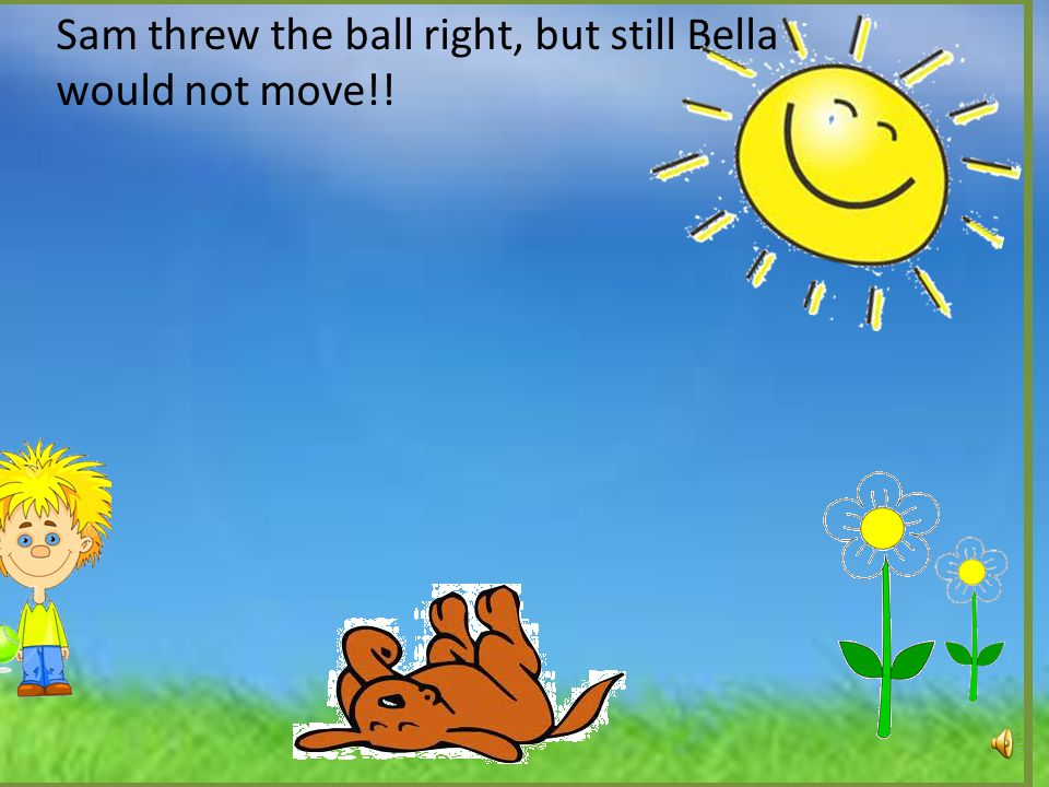 Sam threw the ball left, but Bella would not fetch it!