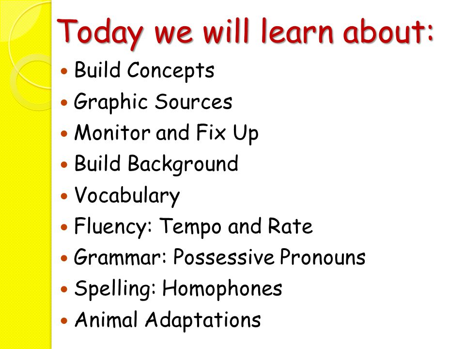 Today we will learn about: Build Concept Vocabulary Graphic Sources Context Clues Grammar: Possessive Pronouns Spelling: Homophones Magazine/Periodical Animal Adaptations