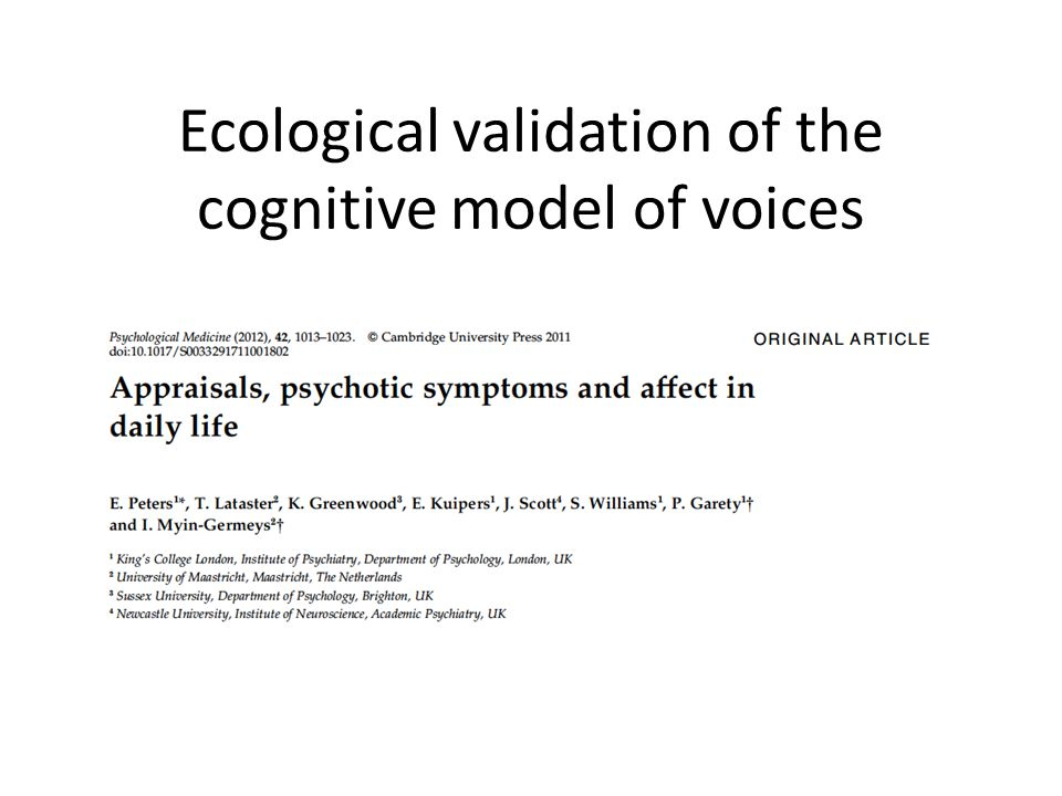 Ecological validation of the cognitive model of voices